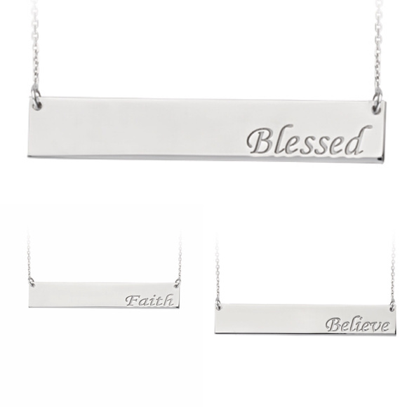 Element Shine Jewelry - Sterling Silver Name Plate Engraved Bar Necklace